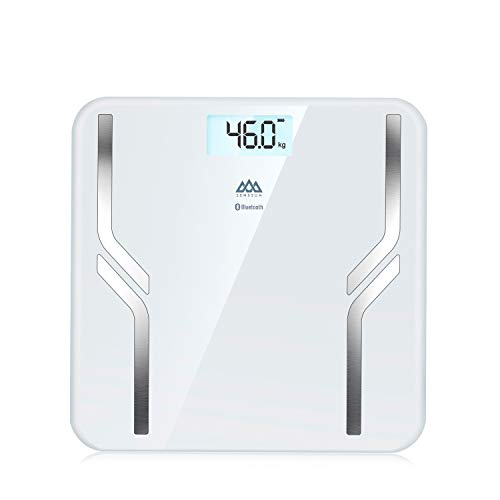 SENSSUN Báscula Grasa Corporal,Básculas de Baño Con Pantalla Retroiluminación de 6 Colores,Bascula Bioimpedancia para Análisis de Grasa IOS y Android,El Rango Máximo es 180 kg / 400 lb / 28st(White)