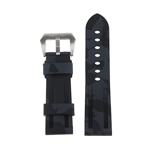 NC 24 Mm Doble Camuflaje Silicona Silicona Buceadores de Goma Deportes Reloj Correa Cinturón - Negro