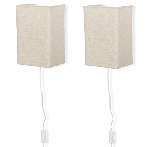 Wallniture Asian Wall Lamp with Toggle Switch, Living Room Decor Rice Paper Lamp Shade with Light Bulbs, Cream Set of 2