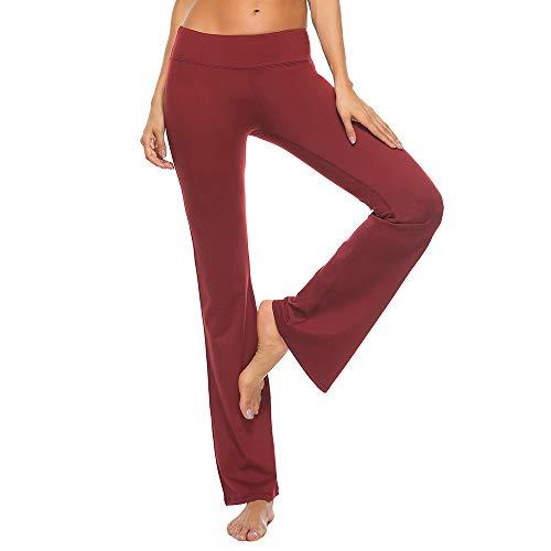 GMIFUN - Pantalones de Yoga para Mujer con Corte de Bota Grueso, Cintura Media, Pantalones de Entrenamiento Largos con Bolsillos (6 Colores) - Rojo - Large