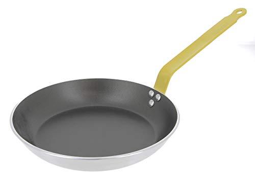 Choc Runde Bratpfanne aus Aluminium, antihaftbeschichtet, 3 mm dick, 27,9 cm, gelber Griff