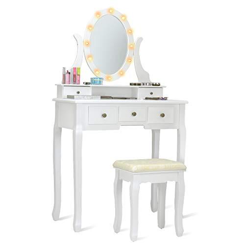 COSTWAY Schminktisch Set mit LED Beleuchtung, Frisiertisch mit Hocker und Spiegel, Frisierkommode weiß, Kosmetiktisch mit 5 Schubladen, Schminkkommode und Schminkhocker aus Holz (Modell 2)