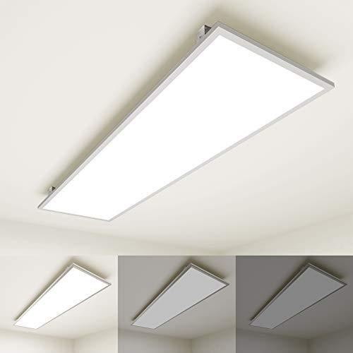 [Premium 111lm/W]OUBO Deckenleuchte LED Panel dimmbar 120x30cm Neutralweiß / 36W / 4000lm / 4000K Weißrahmen Flurlampe Decke Wandleuchte Schlafzimmer, inkl. Trafo und Anbauwinkel