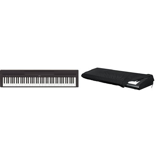 Yamaha P-45B Digital Piano schwarz + Gator Keyboard-Cover für Keyboards mit 88 Tasten (Stretch) Bundle