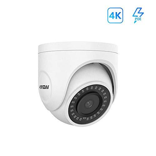 H.VIEW 4K Dome PoE Kamera 8MP IP Überwachungskamera(3840x2160P) HD Sicherheitskamera mit integriertem Mikrofon für Außen/Innen Wetterfest IP66 ONVIF Tag/IR Nachtsicht/Bewegungserkennung