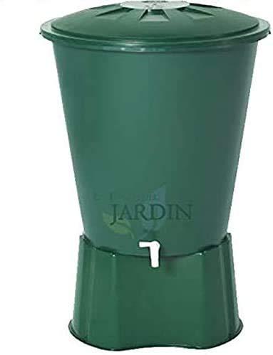 Suinga DEPOSITO DE AGUA de POLIPROPILENO 200 LITROS para agua de lluvia. Incluye tapadera y soporte. Diámetro 77 cm, Alto 80 cm. Capacidad 210 litros.