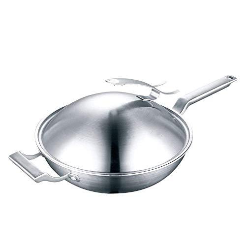 SHYPT Cocina de gas de acero inoxidable Chef Fry Wok Olla tradicional hecha a mano Woks sin revestimiento