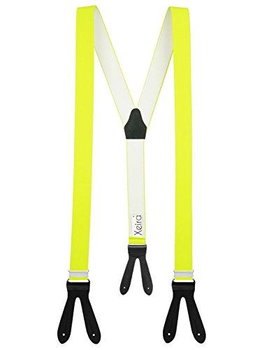 Xeira Hosenträger Neon Gelb mit Schwarzen Lederriemen zum Knöpfen für Herren und Damen Normale Länge 110