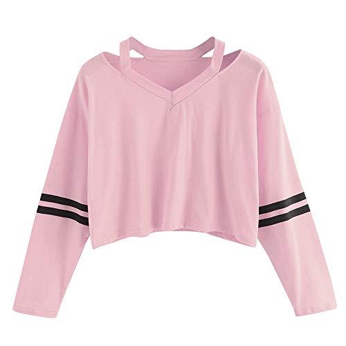 UJUNAOR Mädchen Langarm T-Shirt Herbst Outwear Süß Kurz Sti Top Bluse V-Ausschnitt(Rosa,CN L)