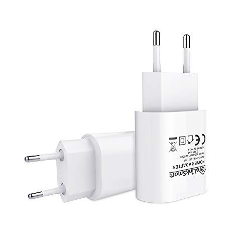 eLinkSmart Cargador USB [Paquete de 2] Cargador USB de la UE 5V / 2A para la Cámara de WiFi Soporte Phones, Pads, Tablets, Galaxy, Samsung
