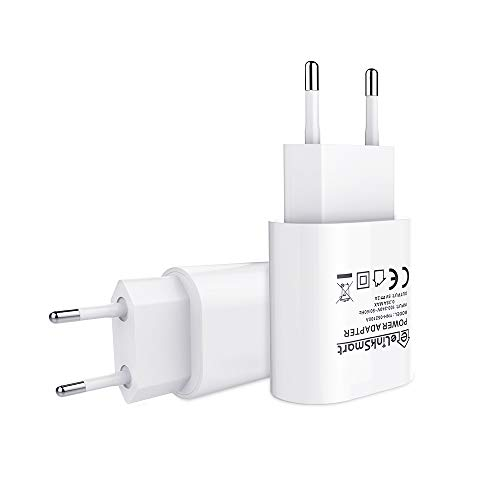 eLinkSmart Cargador USB [Paquete de 2] Cargador USB de la UE 5V / 2A para la Cámara de WiFi Soporte iPhone 7/7 Plus / 6s / 6s Plus, iPad, iPod, Tablet, Galaxy, Samsung