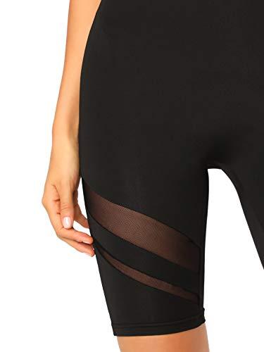 SweatyRocks Women's Short Leggings Mesh Insert Workout Running Cycling Shorts Black Medium
