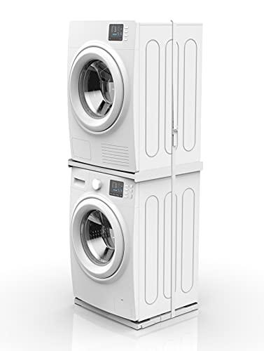 Meliconi The Tower, Kit 2 in 1 per realizzare torre lavatrice-asciugatrice e poterla muovere. Comprende due prodotti: 1 Torre Style L60 e 1 Base Wash pro. Made in Italy, Bianco.