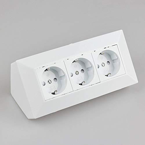 Steckdose Weiß für Küche und Büro - Ecksteckdose aus hochwertigem Kunststoff ideal für Arbeitsplatte, Tischsteckdose oder Unterbausteckdose mit 3-fach Steckdosenelement Küchensteckdose
