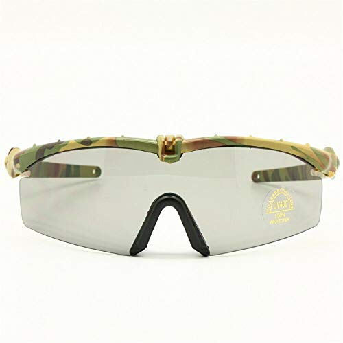 Gafas de Sol polarizadas Gafas de Militares del ejército los Hombres Frame 3/4 Lente Agencia de Juego de Guerra eyeshields(Marrón, polarizado 4 Lentes)