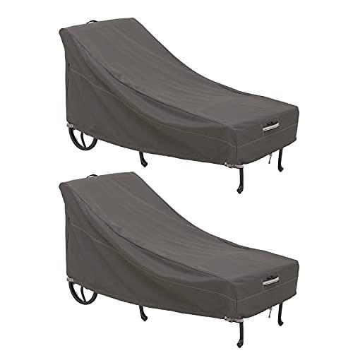Classic Accessories 55-712-041501-2PK Ravenna Lot de 2 housses de chaise longue pour patio, couleur taupe, grande chaise longue 86 cm