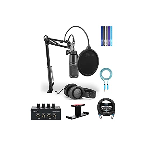 Audio-Technica AT2020PK Streaming/Podcasting Pack Bundle with Blucoil 4-Channel Headphone Amplifier, 10