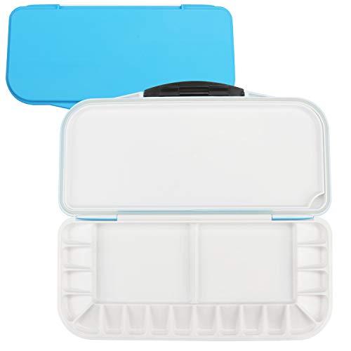 Belle Vous Aufbewahrungsbox Luftdicht (27x24cm) Blau Kasten 18 Fächer Acrylfarben, Wasserfarben - Künstler Mischpalette Faltbar Nasspalette (1+2) Erwachsene & Kinder