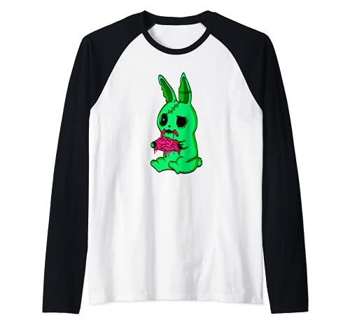 Disfraz de conejito de zombie, regalo de conejo muer Camiseta Manga Raglan