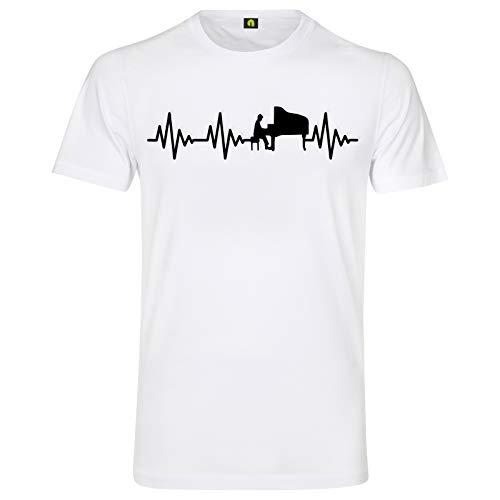 Herzschlag Klavier T-Shirt | EKG | Flügel | Piano | Instrument | Musik | Band Weiss L