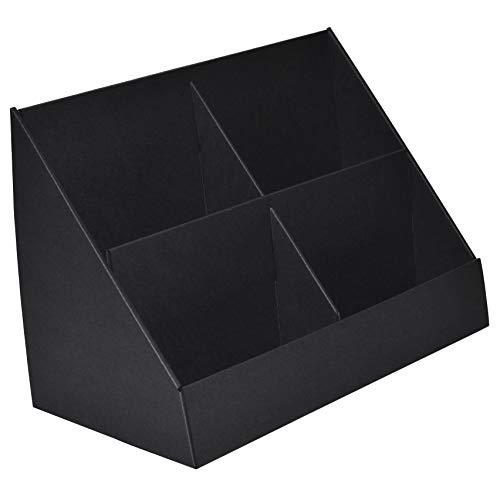 Espositore in cartone nero con 4 tasche per volantini e biglietti di auguri, confezione da 10