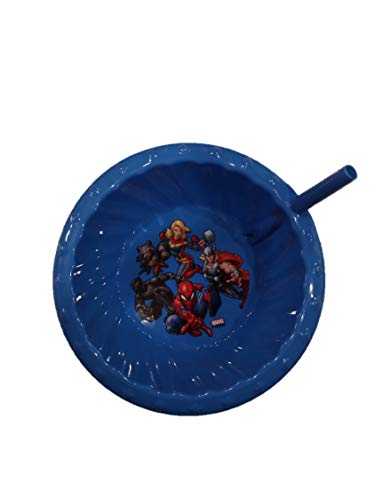 Zak Designs Marvel Super Hero (Thor, Captain Marvel, Rocket Raccoon, Black Panther & Spiderman) Children's Sipper Cereal Bowl With Straw (Blue)