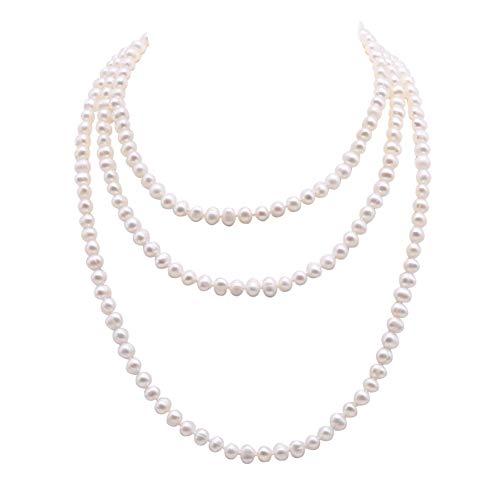 JYX Echte Lange Perlenkette Weiße Perle Halsketten 7-7,5mm Weiß Nahe Runde Süßwasserperlenkette 58
