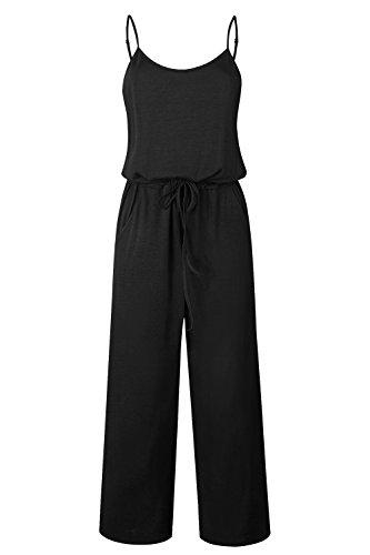 Yidarton Sommer Floral Bedruckte Jumpsuit Damen Halfter ärmellose breite Lange Hosen Jumpsuit Strampler, Schwarz1, L