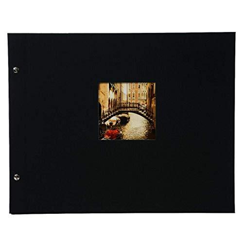 goldbuch 28977 Schraubalbum mit Fensterausschnitt, Bella Vista, 39 x 31 cm, Fotoalbum mit 40 schwarze Seiten mit Pergamin-Trennblättern, Album erweiterbar, Fotobuch aus Leinen, Schwarz