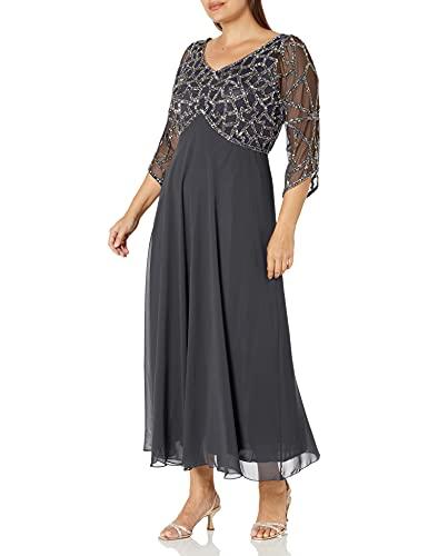 J Kara Women's Plus Size 3/4 Sleeve Geo Beaded Gown, Gray/Gun/Silver, 16W