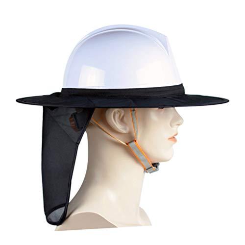 Yardwe Casco Protector Parasol Casco Protector Solar Parasol con Cuello de Malla Completa Sombrilla con Tiras Reflectantes para Mujer Trabajadora Hombre Al Aire Libre (Sin Sombrero)
