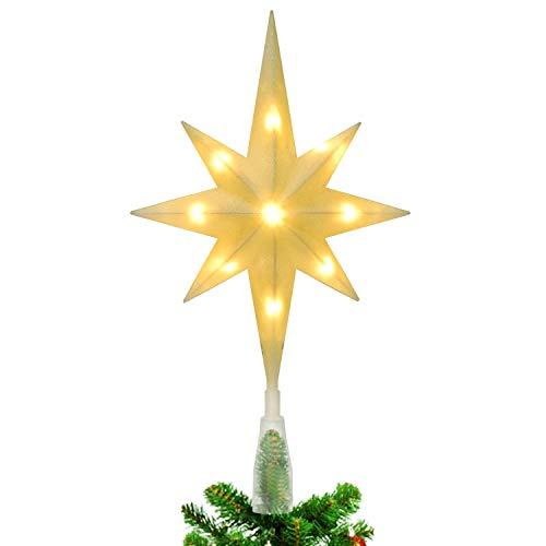 YQing 13.7 Zoll Weihnachten Baumspitze Stern, Christbaumspitze Glitzernden Baumspitze LED Stern Deko Weihnachten Baumkrone Tree Topper für Weihnachtsbaum Dekoration oder Wohnkultur