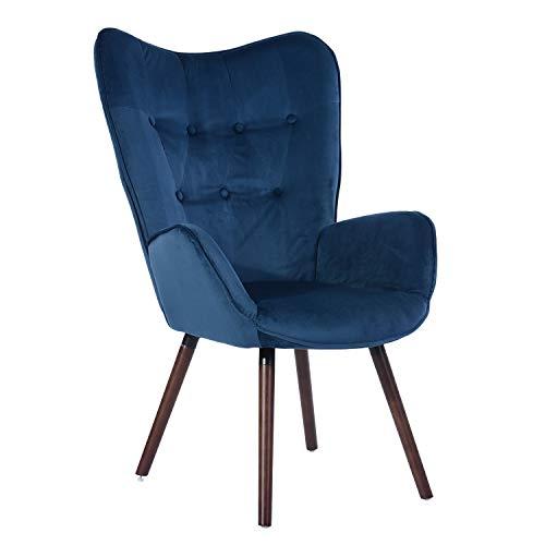 MEUBLE COSY Fauteuil Design scandinave Silln, Velur, Terciopelo Azul, 68,5x33,5x75cm