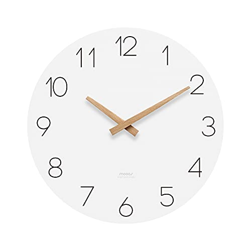 mooas Flatwood Wall Clock, 12' Wood Wall Clock Non-Ticking Sweep Movement Decorative Wall Clock...