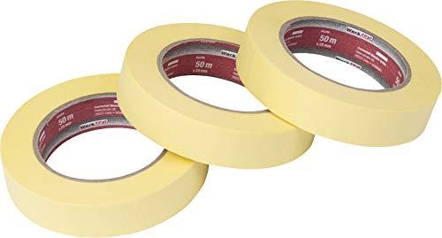 Werkzeyt Kreppband 50 m x 25 mm - Praktisches 3er Set - Für einfache Abdeck- & Malerarbeiten - Universell einsetzbar - Rückstandfrei ablösbar / Abklebeband / Malerkrepp / Feinkreppband / B22299