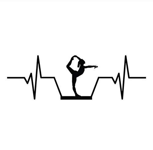 Etiqueta de la pegatina para el parachoques del coche Balance Beam Gymnastics Heartbeat Vinyl Decoration Car Sticker 17.8CM * 5.7CM 2 piezas