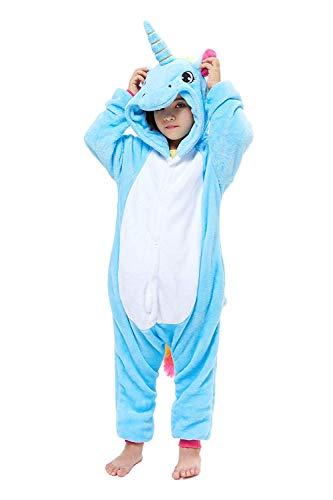 ABYED® Einhorn Kostüm Jumpsuit Onesie Tier Fasching Karneval Halloween kostüm Damen mädchen Herren Kinder Unisex Cosplay Schlafanzug, Blaue Einhorn, Größe 115 - für Höhe: 126-135 cm (7-9 Jahre)