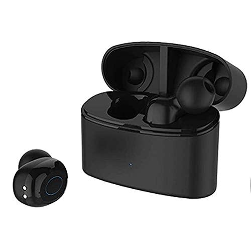 Auriculares V5.0 con reducción inteligente de ruido IPX5, compatible con un solo uso binaural con una caja de carga (color: blanco) BJY969 (color: negro)