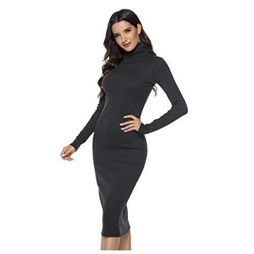 Routinfly Vestido largo de punto, cuello alto, cuello redondo, manga larga, túnica, 5 colores, para mujer, manga larga, cuello redondo, corte ajustado, para otoño e invierno