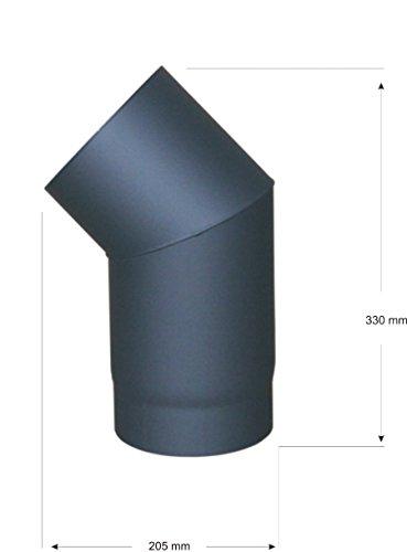 Unbekannt Tuyau de poêle Senotherm Tuyau de fumée coudé 2 mm 150 mm Noir Fonte 45° Bogen Noir