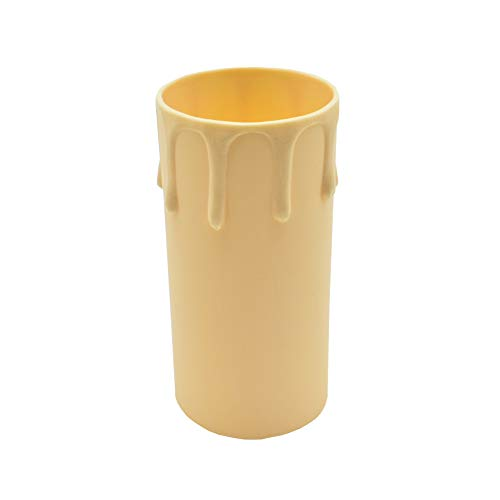 3 pezzi. Porta lampadina E27, colore: avorio, in stile antico, a forma di candela, con gocce, delle dimensioni di 85 mm e Ø 40 mm, per lampadari vintage