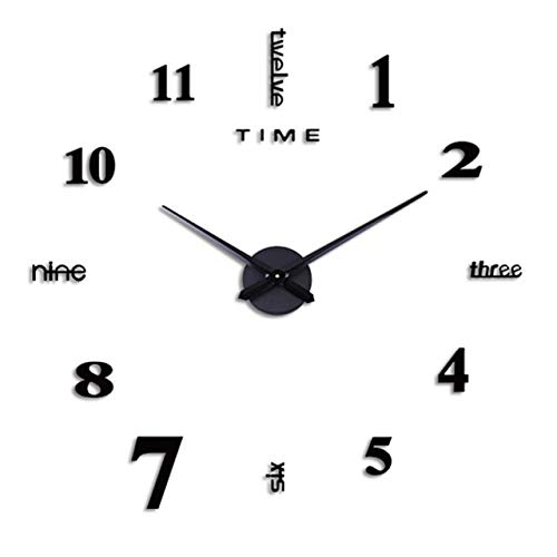 Mdsfe Frameless DIY Wall Mute Clock 3D Mirror Surface Sticker Home Office Decor Stickers Living Room Home Bathroom Wall Decoration # w - A, a2