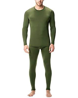 LAPASA Men's Lightweight Thermal Underwear Long John Set Fleece Lined Base Layer Top and Bottom M11 (X-Large, Lightweight Olive)