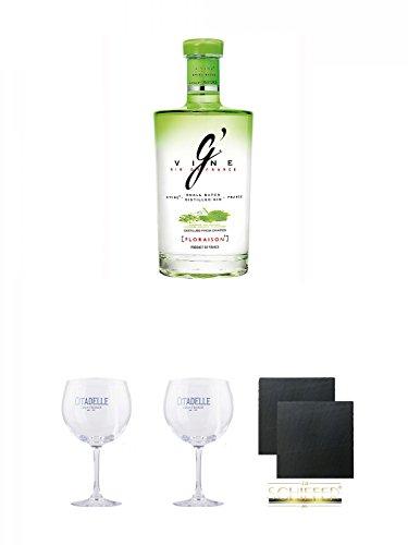 Preisvergleich Produktbild G' Vine Floraison Gin Frankreich 0, 7 Liter + Citadelle Ballon GIN Glas 1 Stück + Citadelle Ballon GIN Glas 1 Stück + Schiefer Glasuntersetzer eckig ca. 9, 5 cm Ø 2 Stück
