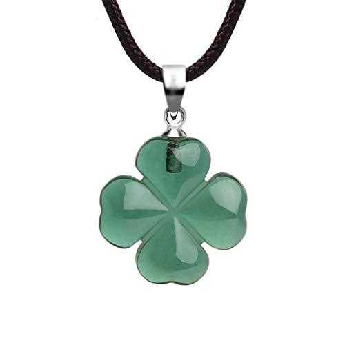 sararui Collares Mujer Sintético trébol de Cuatro Hojas Collar cristalino Verde Afortunado de joyería Cuerda Longitud 16 / 18inch Collares Colgantes (Size : 45cm)