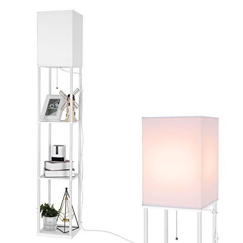 BBHome Moderna lámpara de pie con estante de madera, 3 temperaturas de color regulables, lámpara LED de pie para el salón, dormitorio, oficina y otras habitaciones, bombilla de 9 W incluida (blanco)
