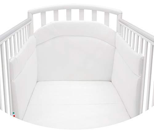 Babysanity® Morbido Paracolpi Imbottito Lettino Culla Neonato e Bambino Lavabile Protezione Avvolgente Paraurti Spessore 4 Cm Tessuto Cotone Certificato - Made In Italy - Colore Bianco