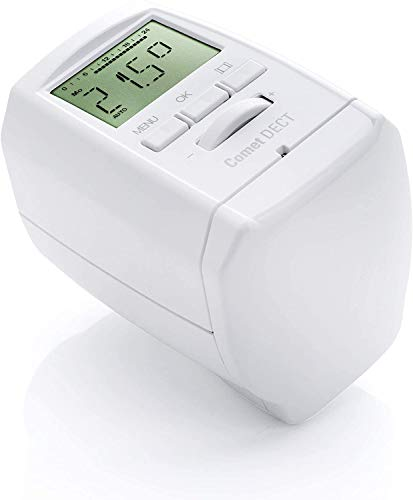 Comet DECT - Termostato para radiador (ahorra hasta un 30% de gastos de calefacción, compatible con AVM FRITZ Box, termostato inalámbrico, incluye adaptador y batería, accesorios Smart Home)