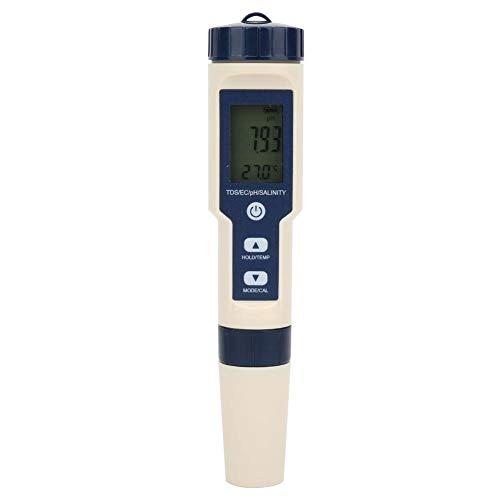 Hakeeta Wassertestdetektor, 5-in-1-Funktion Wasserqualitätsprüfgerät, PH TDS EC-Tester mit Hintergrundbeleuchtung, wasserdicht, für Aquakultur, Trinkwasser, Schwimmbad, Aquarium