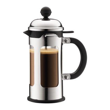 Bodum CHAMBORD Kaffeebereiter (French Press System, Auslaufschutz, Edelstahlrahmen, 0,35 liters) glänzend